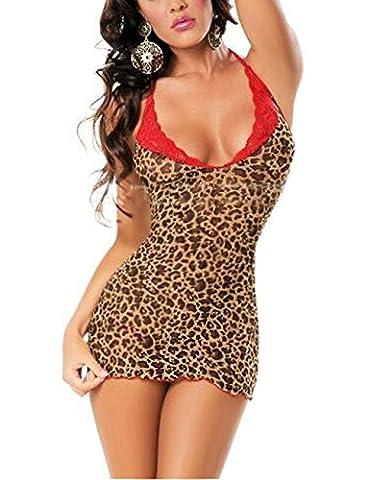 Sexy Leopard Rouge LACE Minidress Babydoll Lingerie Ensembles Sous-vêtements Translucide Teddies Bodys Catsuit +