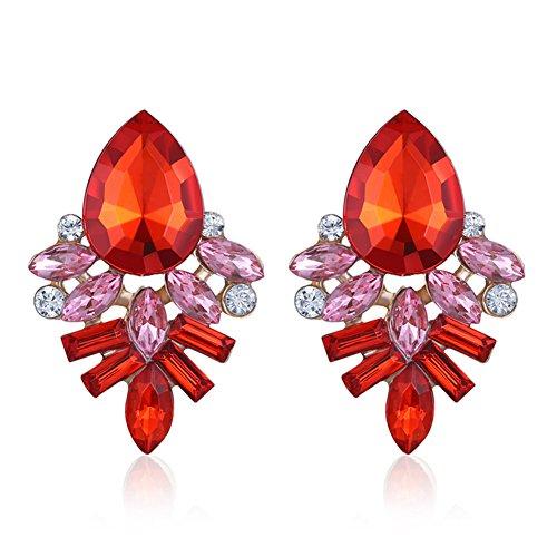 Mädchen Stein Ohrringe Fashion Süßes Kristall Diamant glitzernden Ohrstecker Geschenk,Rot (Süßes Paar Ideen Kostüme)