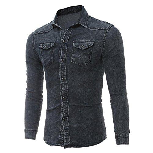 ASHOP Abbigliamento Uomo, Camicia Uomo Maniche Lunghe, Camicie da Uomo Retro Denim Camicia Camicetta da Cowboy Sottili Cime Lunghe Sottili Nero