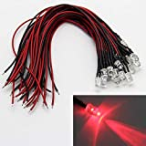 LAOMAO 1 paquete (20 bombillas) 5mm 12V DC rojo LED precableado redonda bulbo lámpara para DIY coche barco juguetes intermitente partes