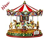Lemax 84349 - The Grand Carousel/Großes Karussell mit 4,5 V Adapter - Neu 2018 - Caddington Village - Animiertes Weihnachtskarussell - Weihnachtswelt/Weihnachtsdorf