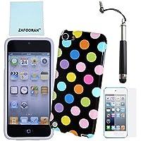 ZAFOORAH® - Cover antiurto per Apple iPod Touch 4, con pennino capacitivo, pellicola di protezione schermo e panno in microfibra inclusi Polka Dot - BLACK MULTI dots