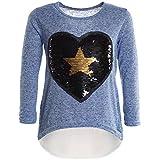 BEZLIT Mädchen Wende-Pailletten Long Shirt Bluse Pullover Langarm Sweat Shirt 21043 Blau Größe 116
