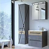 Badmöbel Set 'Jay I 60 Grau' 3 tlg Badezimmerschrank Waschbecken 60cm Grau