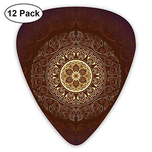 Guitar Picks12pcs Plectrum (0.46mm-0.96mm), Ethnic Tribal Universe Icon Asian Spiritiual Culture Vintage Floral Motif,For Your Guitar or Ukulele