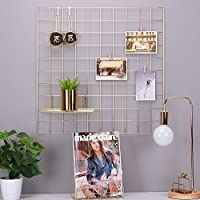 Simmer Stone Multifunction Grid Panel Photo Wall ,Wire Wall Mesh Display Panel Decorative Iron Rack Clip Photograph Wall Hanging Picture wall ,Fashion Art Display & Organizer Gold