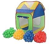 Clamaro 'Pop-Up' Bällebad Zelt mit 300 bunten Bällen (große XXL Bälle mit Ø 7 cm Durchmesser), Kinder Spielzelt für drinnen und draußen mit 2 luftdurchlässigen Netzfenstern, 2 Eingängen mit Klettverschluss und einem abnehmbaren Zeltdach, Abmessungen (L/B/H): 80 x 80 x 107 cm
