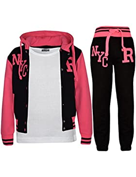 A2Z 4 Kids® Kinder Mädchen Jungen Baseball Trainingsanzug NYC FOX Jacke & Hose Sport Kapuzenpulli Hosen Jogginghose...