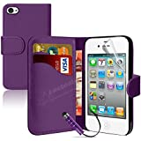 MobileConnect4U® Purple PU Leather Wallet/Flip Case For iPhone 5/5S With Screen Protector And Stylus