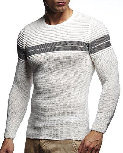 LEIF NELSON Herren Pullover Strickpullover Hoodie Basic Rundhals Crew Neck Sweatshirt langarm Sweater Feinstrick LN1435; Gr_¤e M, Ecru