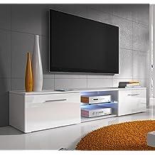 Meuble tv laque blanc avec led - Meuble tv 40 pouces ...