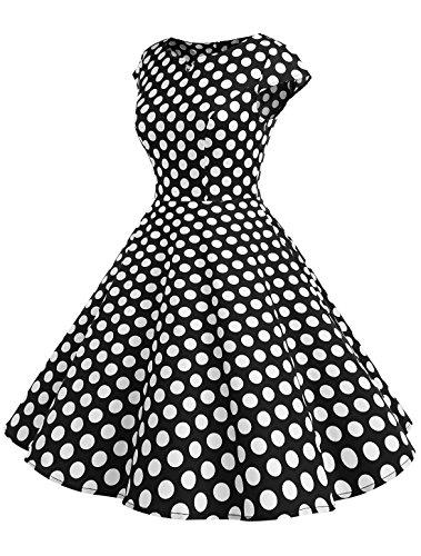 Wedtrend Damen 50er Hepburn Stil Vintage Cap Sleeves Dot Einfarbig Rockabilly Kleid Swing Kleider Schwarz Dot