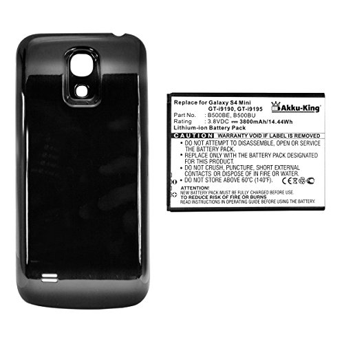 Akku-King Akku für Samsung Galaxy S4 mini, S4 mini LTE, i9190, i9195 - ersetzt EB-B500BE, EB-B500BU - 3800 mAh Li-Ion Akkudeckel schwarz