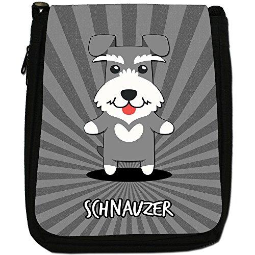 Tedesco Cartoon cani medium nero borsa in tela, taglia M Schnauzer, Zwergschnauzer