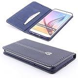 [S6 EDGE PLUS +] Handy Schutz Tasche Noble Series Cover für Samsung Galaxy [S6 EDGE PLUS +] edle Book Style Hülle mit Aufstellfunktion und Kartenfach ScorpioCover blau