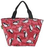 Eco Chic Isolierte Lunch-Tasche, Kühltasche, Picknick-Tasche, Tasche für Lunchpakete, Puffin Red