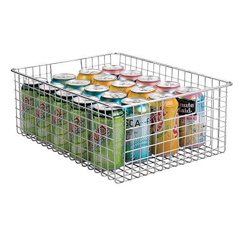 mDesign Allzweckkorb aus Metalldraht - Flexibler Aufbewahrungskorb mit integrierten Griffen - 40,6 cm x 30,5 cm x 15,2 cm - universeller Drahtkorb für die Küche - silberfarben (Die Körbe Für Organisation)