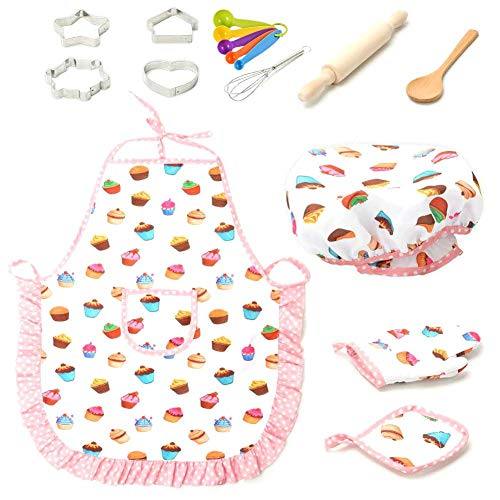 Juego de juguetes para hornear completo para niños Juego de hornear para niños, kit de utensilios para hornear para niños Incluye delantal, guante para horno, batidor de huevos, cortadores