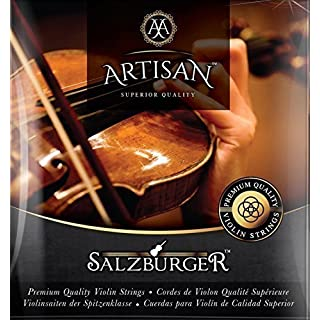 Artisan Violin Strings for 4 4 & 3 4 Size. 10 Violin String Set: 2 x G D A E E. Ball End.Warmest Tones and Unmatched Durability.Flat Wound E String for Smooth Surface,Best for Eliminating Finger Noise