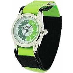 Relda Time Teacher Green & Black Velcro Strap Boys Girls Childrens Watch REL10