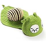Babymoon Infants Wool Crochet Costume (Baby Hat Snail Crochet, Emerald Green)