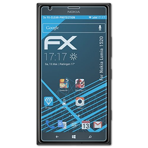 atFolix Schutzfolie kompatibel mit Nokia Lumia 1520 Folie, ultraklare FX Bildschirmschutzfolie (3X)