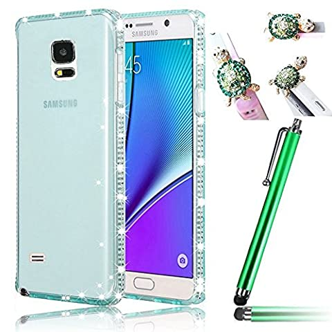 Vandot 3in1 Diamant Strass Case Cover Coque housse Étui pour Samsung Galaxy Note 4 Coquille Sac Coque Ultra-thin Ultra-Light Mince Pleine Clear Effacer Clair transparent TPU Silicone Gel Doux Souple Couvrir Couverture Shell Hull + Tortue anti poussière Plug + Stylet- Bleu