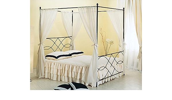 Bed Store Letto Matrimoniale in Ferro BATTUTO Modello Lory Avorio con Baldacchino