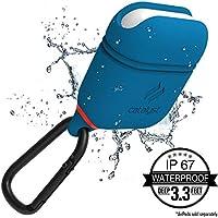 Catalyst Silicon Airpods Case, Funda Cascos bluetooth inalámbricos auriculares con mosqueton, Azul/Rojo