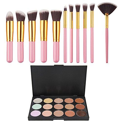 Vococal 15 Couleurs de Maquillage Correcteur Contour Palette + 11 Pcs Pinceau de Maquillage