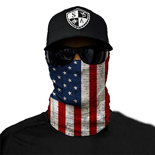 SA Fishing Face Shields ** 40+ Designs verfügbar ** Qualitäts Bandana / Multifunktionstuch / Schlauchtuch / Halstuch aus Stoff & SPF 40 - Face Masks von SA Company, American Flag
