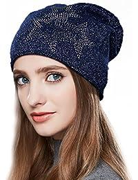 2db11acc953 URSFUR Bonnet Jersey Beanie Strass Femme Laine Chapeau Bonnet Tendance  Tricot Fille Hiver