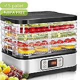 Hopekings Essiccatore frutta e verdura,Display LCD,Timer di 72 ore,5 pallet,Disidratatore per Alimenti,Essiccatore Alimentare,Temperatura regolabile(35 ° C-70 ° C), 250 W