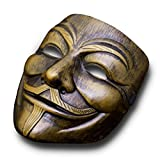 Luxus V wie Vendetta Maske Guy Fawkes Anonymous Replika Demo Anti Mask in Gold-Bronze