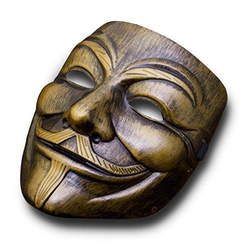 Luxus V wie Vendetta Maske Guy Fawkes Anonymous Replika Demo Anti Mask in Gold-Bronze  (Die Anonymous Maske Halloween Kostüm)