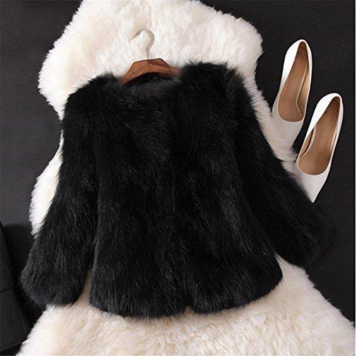 Giacca A Maniche Corte Con Maniche Corte In Pelliccia Sintetica A Maniche Lunghe,Cappotto Di Pelliccia Di Pelliccia Di Faux Donne Cappotto Di Pelliccia Di Inverno Lanuginoso Nero