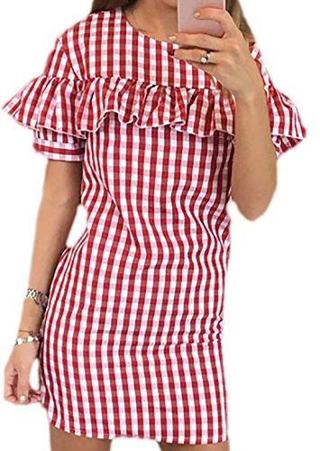 erdbeerloft Damen Kurzes Kariertes Kleid mit Volant, 3442, Viele Farben Rot