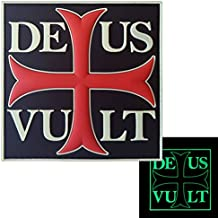Glow Dark Deus Vult God Wills It Crusader Knight Cross Crusaders Morale PVC Gomme Touch Fastener Écusson Patch