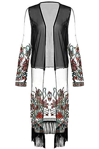 Cardigan damen lang sommer, Sondereu Cover Up Bluse mit Blumenmuster Stickerei Chiffon Troddel Chiffon Kimono Top,Schwarz, XL