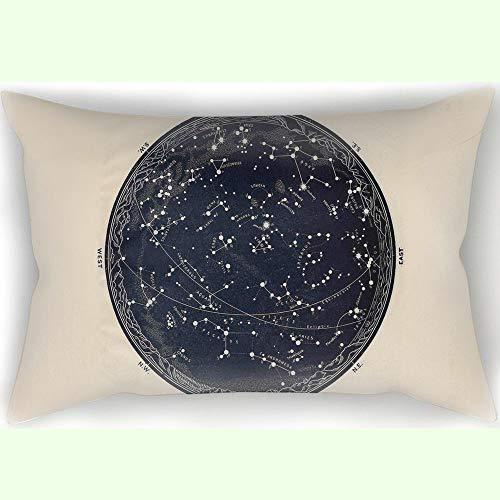 SWEUoYKo 50X75 CM Pillow Case ANTIQUE MAP OF THE NIGHT SKY, 19TH CENTURY ASTRONOMY Muster Home Decor Square Dekokissen Fall Twin Seiten gedruckt Kissenbezug 20