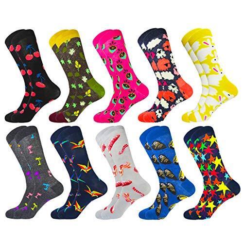 HIWEAR Herren Kleid Bunte lustige Design Komfort gekämmte Baumwolle Crew Socks Pack (10PK-mix1) -