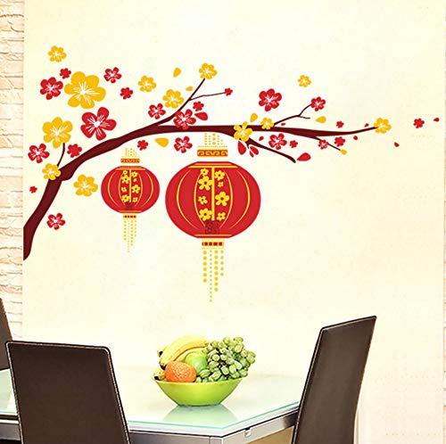 Yzybz Pflaumenblüte Rote Laterne Im Chinesischen Stil Neue Jahr Wandaufkleber Wohnkultur Wohnzimmer Dekoration Zubehör Wand Aufkleber Tapete