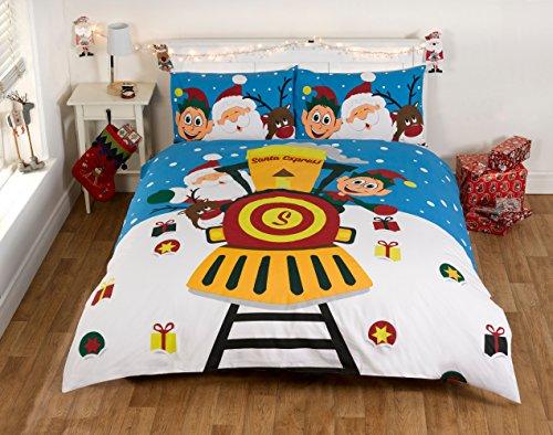 Bettwäsche Bettbezug Set Blau Weihnachten 100% Baumwolle Kopfkissenbezüge Bettdecke, 200x200 135x200 230x220, Jungen mädchen (200 x 200cm) (Baumwolle Perkal Bettdecke)