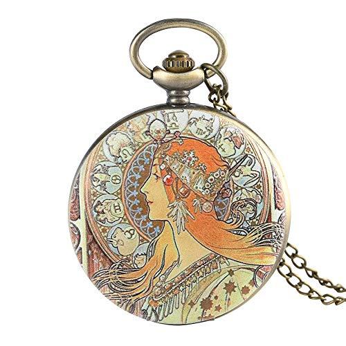 Klassische Mucha's Work Beauty Pattern Quarz-Taschenuhr mit Anhänger Elegant Stil Fob Frauen Uhren Analog Uhr Souvenir