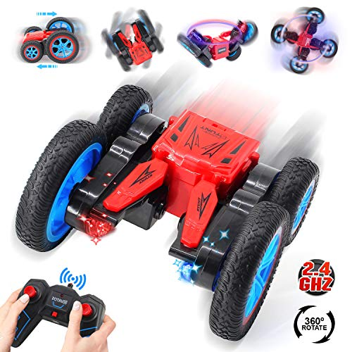 VATOS Ferngesteuertes Auto RC Stunt Auto 4WD Off Road Elektro-Fernbedienung Fahrzeug 2.4 GHz Rennauto mit LED-Licht High Speed 7.5 MPH 360 Grad Rollen Rotierende Tumbling Spielzeugauto für Kinder