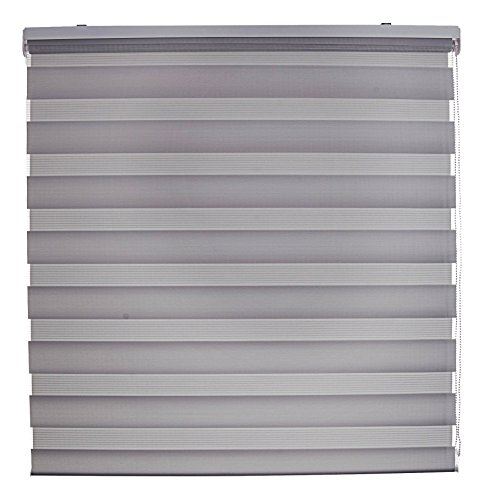 Blindecor Lira - Estor enrollable doble tejido, noche y día, 120 x 180 cm, color gris