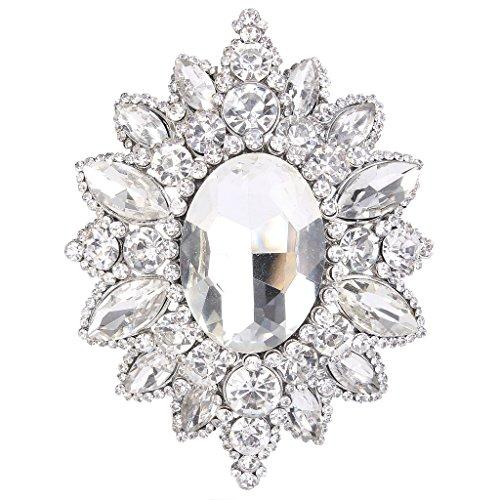 EVER FAITH Women's Rhinestone Crystal Elegant Sunflower Brooch
