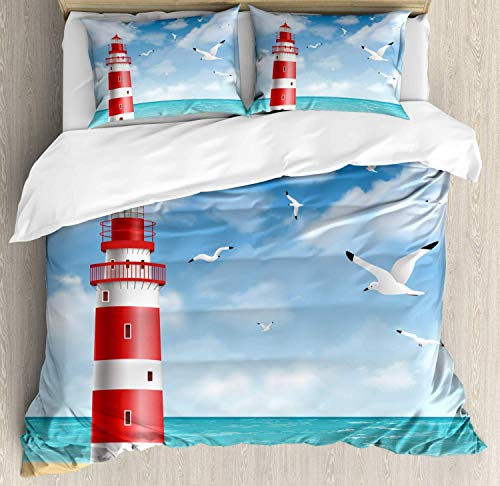 LIS HOME Strand Bettwäsche Bettbezug Set, Realistische Illustration Leuchtturm an der ruhigen Küste Flying Seagulls Ocean Scenery, Dekorative 3 Stück Bettwäsche Set mit 2 Pillow Shams, Vermilion Blue