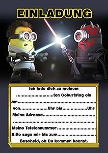 10 Einladungen zum Kindergeburtstag Minions Star Wars