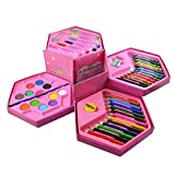 This 46 piece art set will inspire to make creative designs and perfect to keep your young artist. The art set consists of a plastic box with several pull-out trays containing 46 different art items, including paints and brushes. Make flowers, charac...